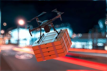 Drone Quadcopter Delivering Pizza Boxes to Buyer Flying at Street. Contactless Delivery. Online Shopping. 3d rendering Reklamní fotografie - 147110030
