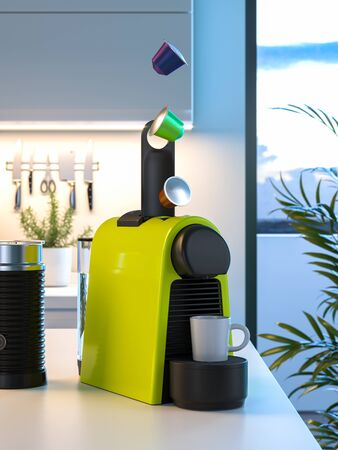 Espresso Capsules Falling Into Coffee Machine. Beginning of Making Fresh Coffee Process in Modern Kitchen. 3d rendering Reklamní fotografie