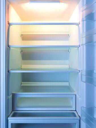 Empty Shelves of Refrigerator or Fridge. Showcase. Diet Keeping. 3d Rendering.