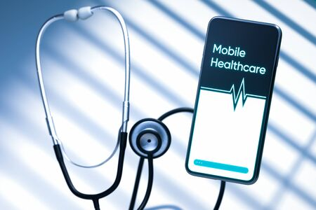 Mobile Phone Connected With Phonendoscope. Concept Of Communication Between Doctor And Patient, Online Consultation. 3D Rendering