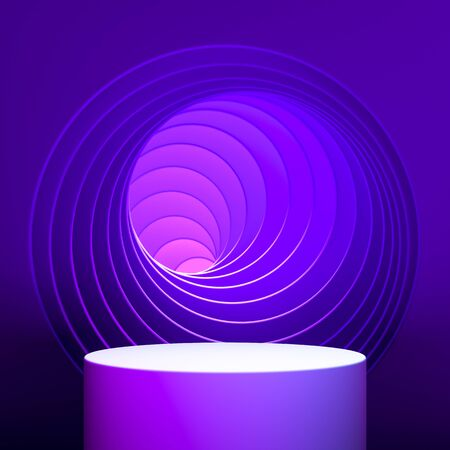 Violet Round Showcase with Empty Space On Pedestal on Violet and Pink Background Near Geometric Arch With Abstract Waves. 3d rendering Reklamní fotografie - 147110580