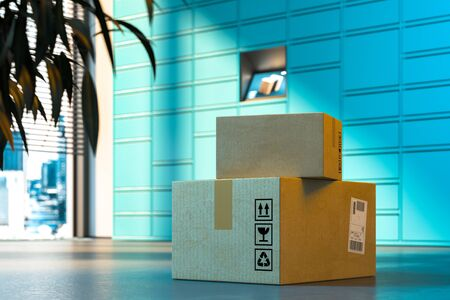 Close up Of Parcels With Self-Service Post Terminal Machine on Background. 3d rendering. Reklamní fotografie - 147110643