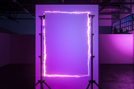 Tripods Holding Vertical Frame Made From Violet Neon Electric Light In Modern Stylish Photo Studio. 3D Rendering Reklamní fotografie - 147110644