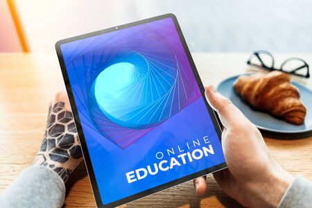 Man Hands Holding Modern Mobile Tablet or Pad With App For Online Education. Studying Remotely, 3d Rendering