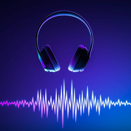 Headphones and Music Dynamic Waves on Blue Background. Sound Waves Template. Music Equalizer. 3d rendering