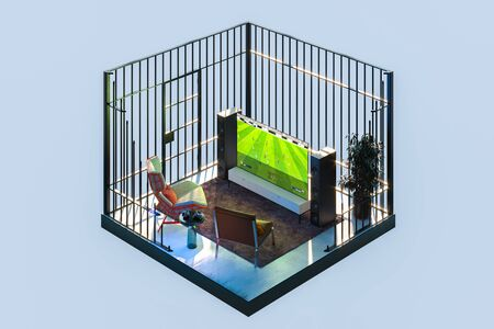 Tv Set With Football Soccer Video Game at Cozy Apartments in a Cut and in Cage. Quarantine, Isolation. Feeling Like in Jail. 3d Rendering Reklamní fotografie - 147110672