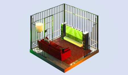 Tv Set With Football Soccer Translation at Apartments in a Cut and in Cage. Quarantine, Isolation. Feeling Like in Behind Bars. 3d Rendering