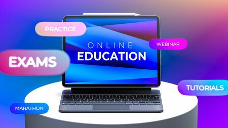 Laptop With App For Online Education on Showcase. Inscriptions Education, Exams, Webinar, Tutorials, Practice, Marathon. 3d Rendering