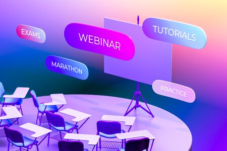 Auditorium With Blank Presentation Roller Screen Near Inscriptions Education, Exams, Webinar, Tutorials, Practice, Marathon. 3d Rendering