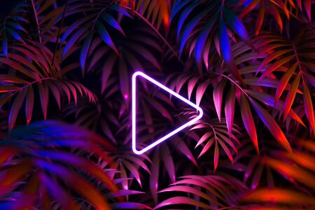 Play Movie Icon, Cinema Projector On Tropic Leaves Background. Online App For Watching TV Series And Movies. 3d Rendering