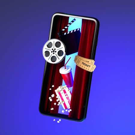 Mobile Phone Screen With Flying Out Popcorn Bowl, Takeaway Cup For Drinks, Tickets, Film Reel And Movie Clapper. Online Movie. 3d Rendering.