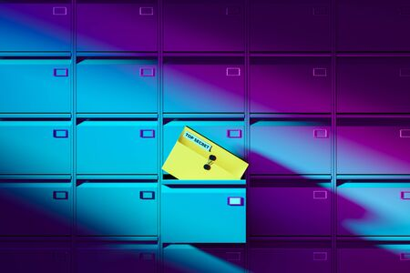 Close up Of Violet Colored Self-Service Post Terminal Machine and Open Locker With Document Case Inscripted by Top Secret. 3d rendering.