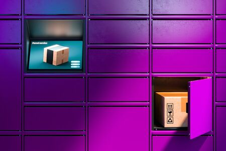 Close up Of Violet or Purpur Colored Self-Service Post Terminal Machine and One Open Locker With Parcel Inside. 3d rendering. Reklamní fotografie - 147110680