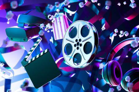 Popcorn, Film Reel, Movie Clapper, Virtual Reality Helmet or VR Goggles and Headphones on Film Tape Background. Online Movie. 3d Rendering.
