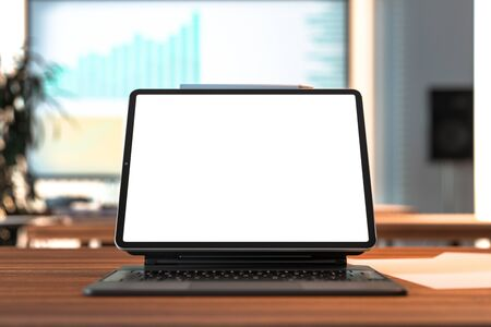 Modern Laptop With White Blank Screen and White Pen Above at Modern Office or Home. Copy Space. Empty Space. 3d rendering