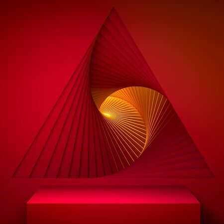 Red Showcase with Empty Space On Pedestal on Red and Orange Background Near Abstract Geometric Arch Illuminated by Light. 3d rendering. Reklamní fotografie - 147110702