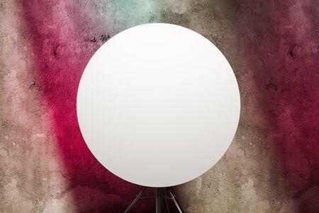Blank Round Signboard Mockup. Empty Circular Template on Tripod. Ad. Copy Space. Empty Space. 3d rendering. Reklamní fotografie