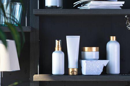 White Cosmetic Bottle Set for Liquid, Cream, Gel, Lotion. Blank Templates of Dispenser, Cream Jar, Tube, Bottle on Wooden Shelf. 3d rendering Reklamní fotografie