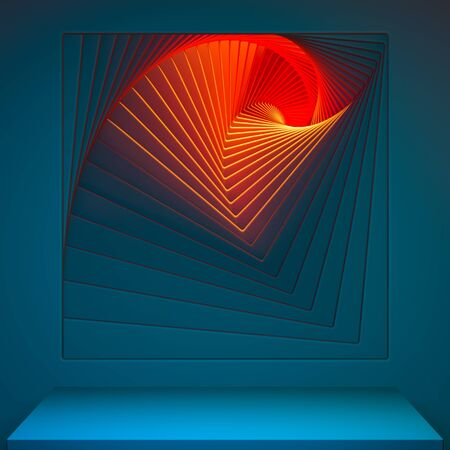 Blue Showcase with Empty Space On Pedestal on Blue and Orange Background Near Abstract Geometric Arch Illuminated by Light. 3d rendering. Reklamní fotografie - 147110726