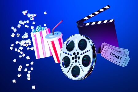 Popcorn Bowl, Takeaway Cup For Drink, Tickets, Film Reel And Movie Clapper on Blue Background. Online Movie. 3d Rendering.