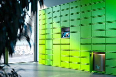 Bright Green or Lime Colored Self-Service Post Terminal Machine and One Open Locker. 3d rendering.