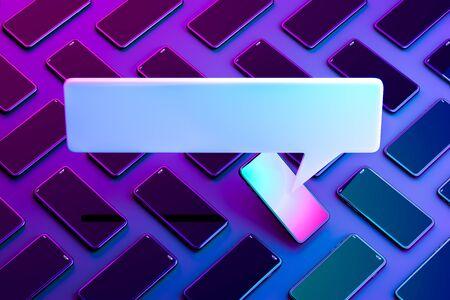 Blank Message Notification. Speech Bubble on Mobile Phone With Multicolored Screen. Online Communication. 3d rendering. Reklamní fotografie