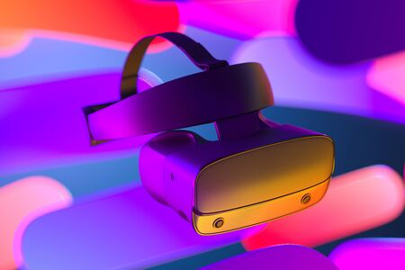 Virtual Reality Helmet or VR Goggles on Abstract Multicolored Background Illuminated By Neon Lights. Virtual Reality Goggles, Headset. 3d rendering