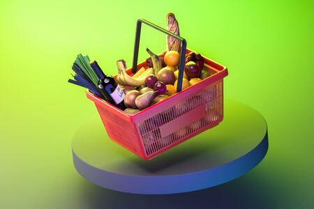 Shopping Basket Full Of Products, Fruits, Vegetables and Wine on Showcase and Green Bright Background. Fresh And Healthy Eating. 3d Rendering.