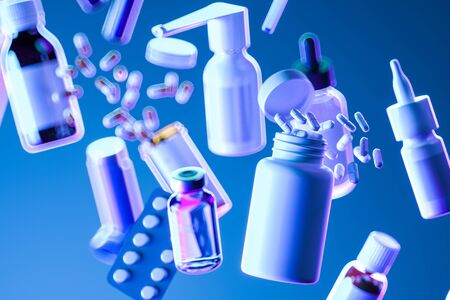 Variety of Medicine and Drugs, Pills, Tablets, Capsules, Aerosols, Sprays, Antibiotics, Blisters, Bottles, Droppers, Containers on Blue Background. 3d Rendering Reklamní fotografie - 147917410