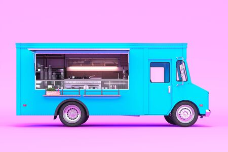 Blue Food Truck With Detailed Interior Isolated on Pastel Pink Background. Cozy Interior With Warm Light. Takeaway Food and Drinks. 3d rendering Reklamní fotografie