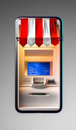 Realistic White ATM Machine in Mobile Phone on Light Gray Background. Online Shopping and Paying. Ordering Via Mobile Phone. 3d rendering
