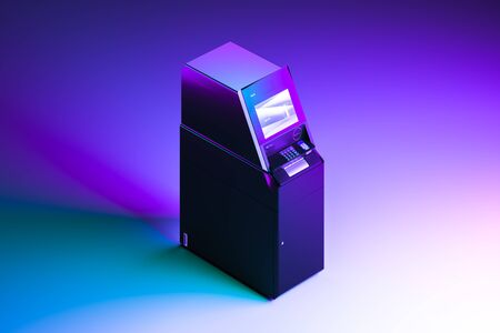 Realistic Black ATM Machine on Neon Gradient Multicolored Background. Payment concept. 3d rendering