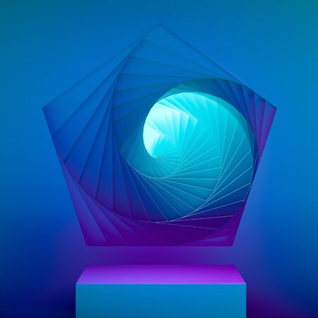 Blue Showcase with Empty Space On Pedestal on Blue Background Near Abstract Geometric Arch Illuminated by Violet Neon Light. 3d rendering.