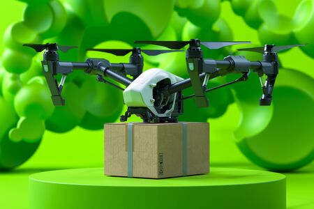 Drone Quadcopter With Box On Green Background and Showcase. Contactless Delivery. Remote Control. Online Shopping. 3d rendering Reklamní fotografie