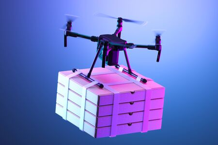 Realistic Drone Quadcopter With Batch of Pizza Boxes On Bright Violet Background. Contactless Delivery. 3d rendering Reklamní fotografie - 147917835