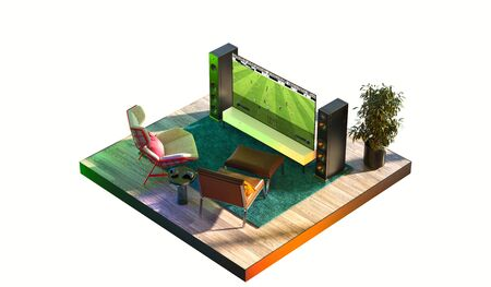 Modern Tv Set With Football Soccer Video Game at Cozy Apartments in a Cut. 3d rendering.