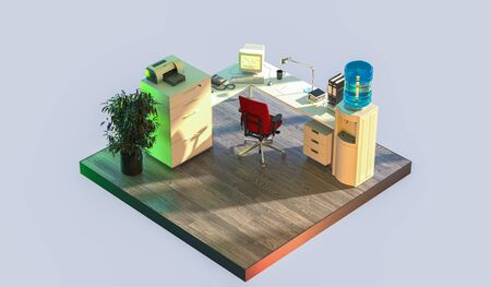 Office Interior in Cut Lit With Sun. Feeling Good and Freely At Work. Quarantine, Isolation. 3d Rendering.
