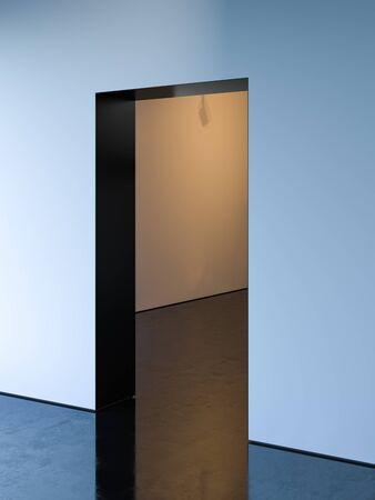 Entrance In Stylish Minimalistic Interior. Strict Style. 3d rendering. Reklamní fotografie - 147532066