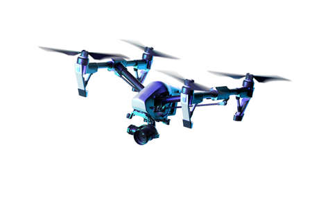 Realistic Drone Quadcopter With Camera Isolated On Bright Background. Modern Videography. Air Spy. 3d rendering. Reklamní fotografie