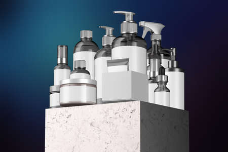 Cosmetic Bottle Set for Liquid, Cream, Gel, Mask, Lotion, Oil On Stone Showcase and Blue Background. Blank Template of Containers: Dispenser, Cream Jar, Tube, Dropper, Spray. 3d rendering Reklamní fotografie