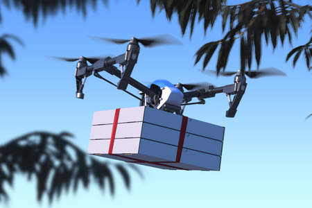Drone Delivering Pizza Boxes to Buyer From Restaurant. Quadcopter Flying at Street. Contactless Delivery. Online Shopping. 3d rendering. Reklamní fotografie