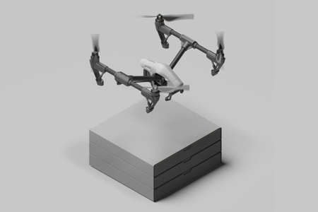 Gray Drone With Cardboard Boxes On Light Monochrome Background. Quadcopter With Remote Control. 3d rendering. Reklamní fotografie