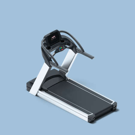 Treadmill On Light Blue Background. Exercycle. Sport, Fitness, Healthy Lifestyle and Bodybuilding. Minimalism Concept. 3d Rendering