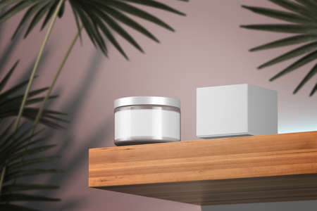 Glass Cream Jar for Liquid, Cream, Gel, Mask Near Cardboard Box On Wooden Shelf Near Tropical Plant. Beauty Product Package, Blank Template of Cosmetic Container. Copy Space. Empty Space, 3d rendering