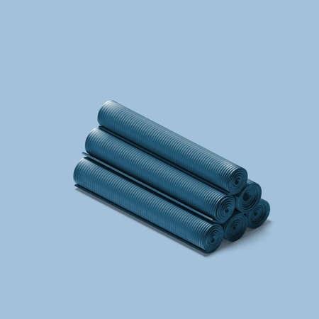 Set Of Blue Rolled Yoga or Fitness Mat on Blue Background. Minimalism. Zen and Balance. Sport Equipment. 3d Rendering. Reklamní fotografie - 154011708
