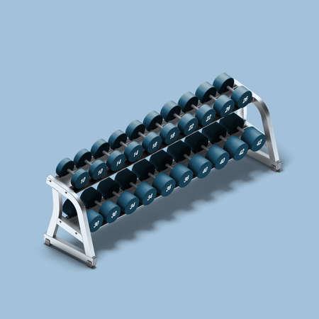 Metal Dumbbells on Rack On Blue Background. Dumbbells On the Shelf. Weight Training Equipment. Rows of Dumbbells. 3d Rendering. Reklamní fotografie