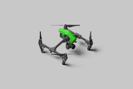 Drone With Remote Control On Gray Monochrome Background. Green Quadcopter With Remote Control. 3d rendering. Reklamní fotografie - 154012158
