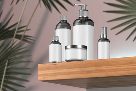 Cosmetic Bottle Set for Liquid, Cream, Gel, Mask, Lotion, On Wooden Shelf Near Tropical Plant. Beauty Product Package, Blank Template of Cosmetic Containers: Dispenser, Cream Jar, Bottle. 3d rendering Reklamní fotografie - 153788178
