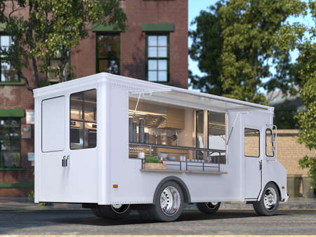 White Blank Realistic Food Truck With Detailed Cozy Interior With Warm Light On Street. Modern Cityscape. Takeaway Food And Drinks. 3d rendering. Back View