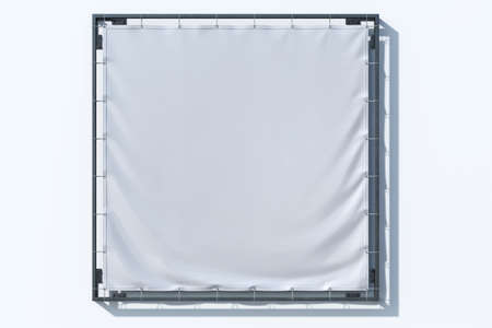 Fabric Square Banner Mockup, Vinyl Poster Printing at Bright Background. Copy Space. Empty Space. 3d rendering.